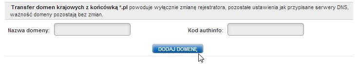 Formularz Transferu Domeny